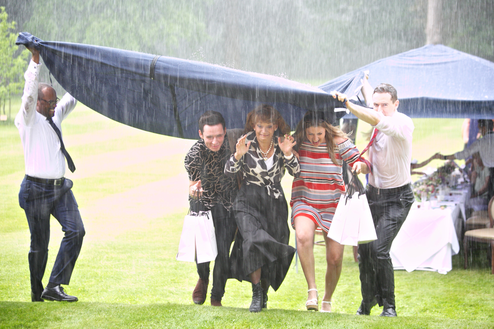 Champneys Afternoon Tea Launch Celebrities Running in the Rain