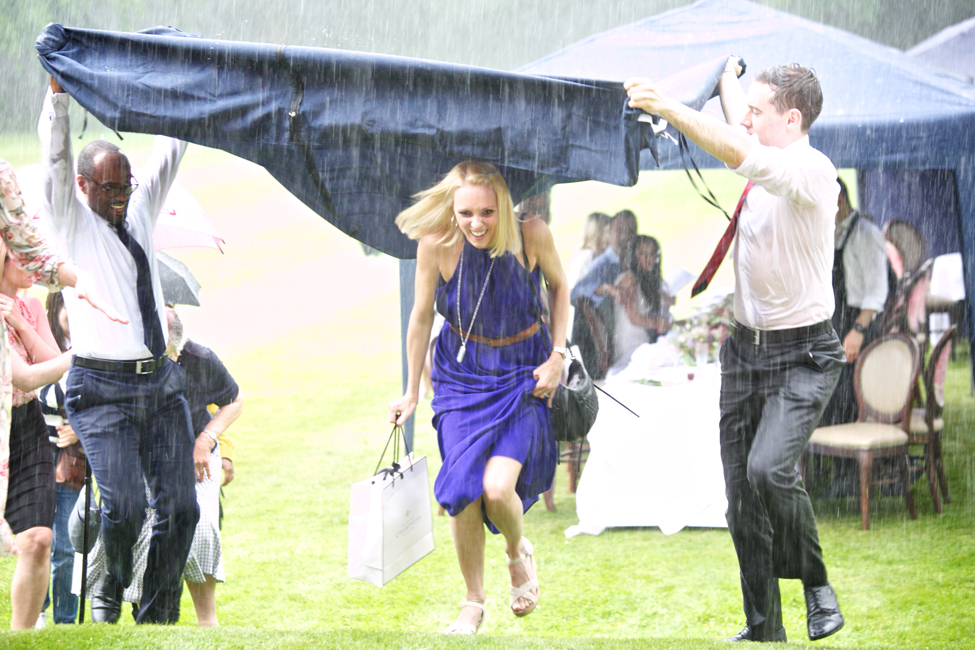 Champneys Afternoon Tea Launch Celebrities Camilla Dellarup in the rain