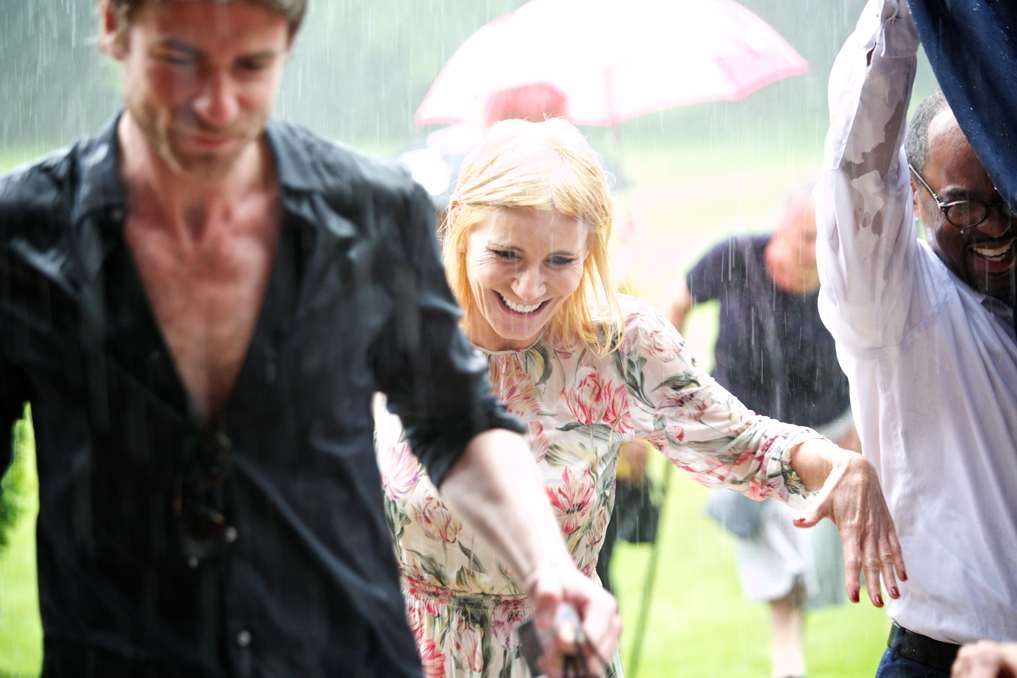 Champneys Afternoon Tea Launch Celebrities Michelle Collins in the rain