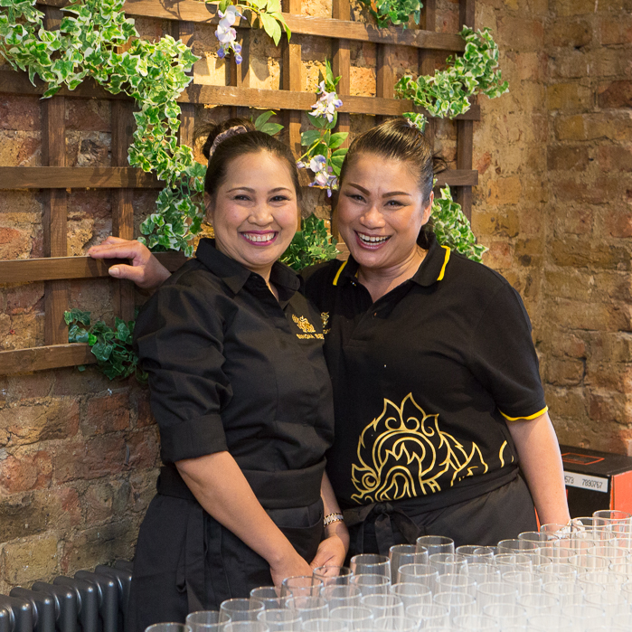 Smiling staff at the Giggling Squid Launch Brentwood Rebecca Fennell Photography
